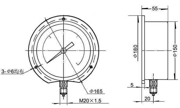 径向凸装式精密压力表外形尺寸图