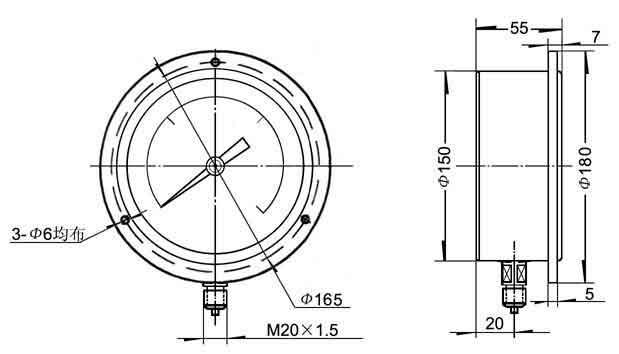 径向嵌装式精密压力表外形尺寸图