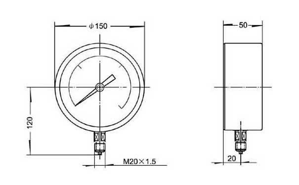 基型精密压力表外形尺寸图